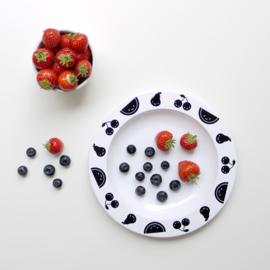 Buddy and Bear melamine bord Fruit Friends (zwart)