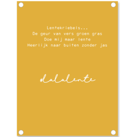 Label-R | Tuinposter Tekst Lala Lente (mosterdgeel)