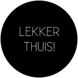 Label-R | Muurcirkel Tekst Lekker Thuis (zwart)