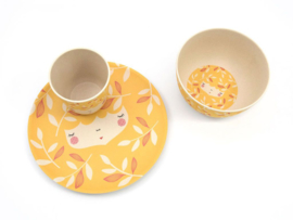Yuunaa | Set Bamboe Kinderservies Flower Face (geel)