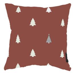 Label-R | Buitenkussen Kerstboom (steenrood/oudroze)