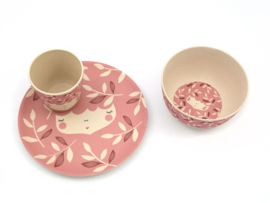 Yuunaa | Set Bamboe Kinderservies Flower Face (roze)