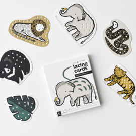 Wee Gallery | Rijgkaarten / Lacing Cards - Jungle Animals