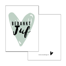 Esva Design | Mini Kaartje Bedankt Juf (groen)