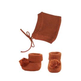 Olli Ella | Dinkum Doll Knit Set Muts + Slofjes - Umber