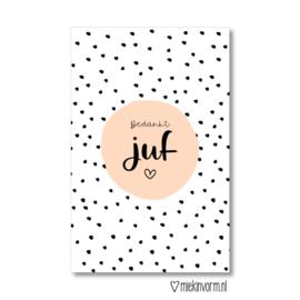 MIEKinvorm | Mini-Kaart Bedankt Juf