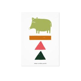 Studio Rainbow Prints - A5 Poster Varken en blokken