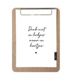 Label-R | Klembord Met Print Denk Niet In Hokjes