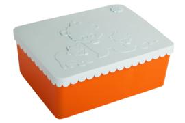 Blafre | Lunchtrommel IJsbeer (oranje/lichtblauw)