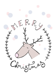 Funny Side Up - Poster Merry Christmas / Reindeer (A4)