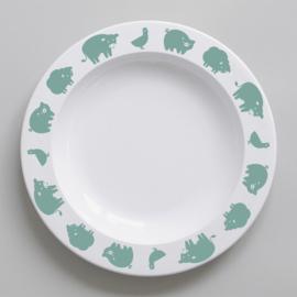 Buddy and Bear melamine bord Boerderijdier (groen)