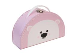 Kids Boetiek kartonnen koffertje IJsbeer (roze)