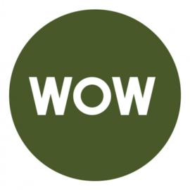 Sticker WOW (groen/wit)