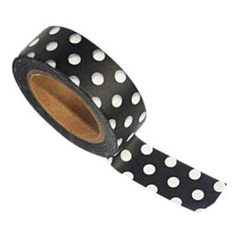 Zoedt Masking tape zwart met witte stippen