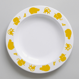Buddy and Bear melamine bord Wilde Dieren (geel)