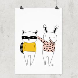 Studio Rainbow Prints - A4 Poster Konijn en Wasbeer (wit)