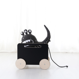 ooh noo houten speelgoedkist op wielen (zwart)