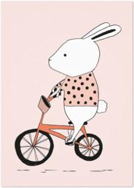 Studio Rainbow Prints - A4 Poster Konijn op de fiets (roze)