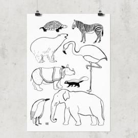 Studio Rainbow Prints - A4 Poster Dieren (zwart/wit)