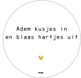 Label-R | Muurcirkel Adem Kusjes In En Blaas Hartjes Uit (hart geel)