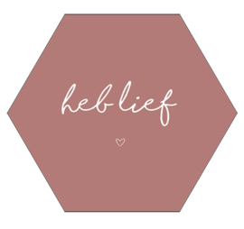 Label-R Kids | Hexagon Tekst Heb lief (roze)