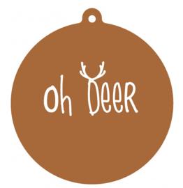 Label-R   Kersthanger Oh Deer Hazelbruin