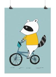 Studio Rainbow Prints - A3 Poster Wasbeer op fiets (blauw)