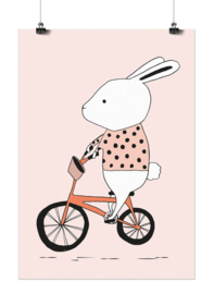 Studio Rainbow Prints - A3 Poster Konijn op fiets (roze)