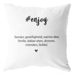 Label-R | Buitenkussen #enjoy (wit)