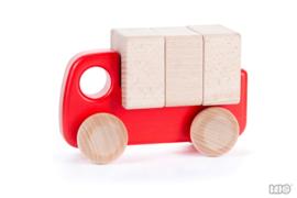 Bajo Houten Vrachtwagen met Blokken (rood)