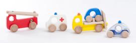 Bajo Set van Politieauto, Brandweerauto, Ambulance en Autotransporter