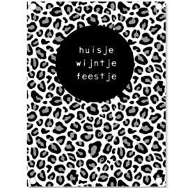Label-R | Tuinposter Panterprint Huisje, Wijntje, Feestje