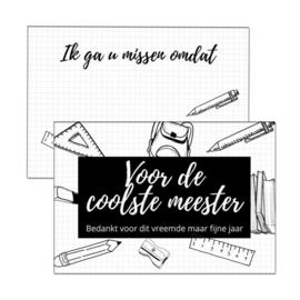 Esva Design | Kaart Voor De Coolste Meester (zwart/wit)