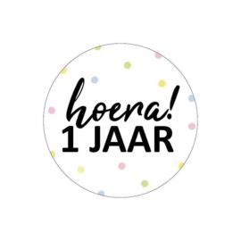 Sticker Hoera! 1 jaar