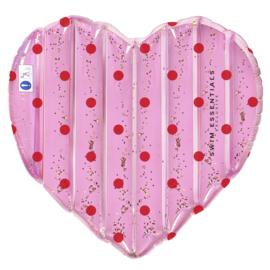 SWIM ESSENTIALS | Hartvormig Luchtbed Roze met Stippen (130 x 160 cm)