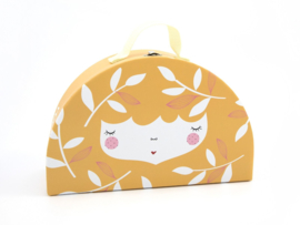 Yuunaa | Kartonnen Kinderkoffertje Flower Face Geel - Groot