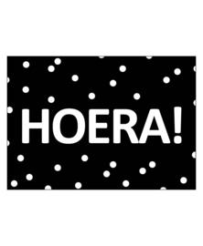 Ansichtkaart Hoera (zwart)