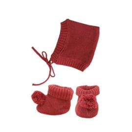 Olli Ella | Dinkum Doll Knit Set Muts + Slofjes - Plum