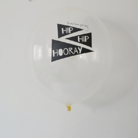 The Cherry on Top - Ballonnen Hip Hip Hooray (wit/zwart)