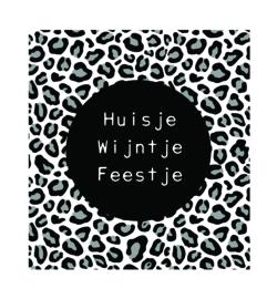 Label-R   Magneet Panterprint Huisje, Wijntje, Feestje