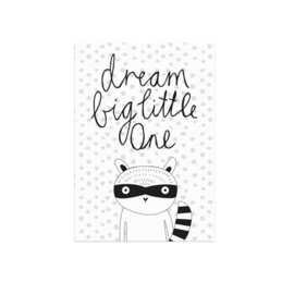 Studio Rainbow Prints - A4 Poster Dream Big Little One Fox (zwart-wit)