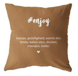 Label-R | Buitenkussen #enjoy (hazelbruin)