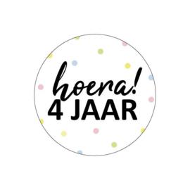 Sticker Hoera! 4 jaar