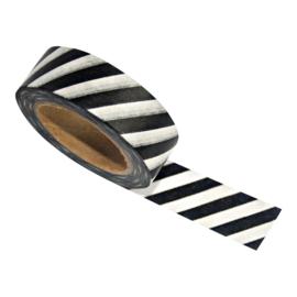 Zoedt Masking tape zwart/wit schuine streep