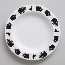 Buddy and Bear melamine bord Boerderijdier (zwart)