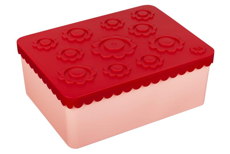 Blafre Lunchtrommel Bloemen (roze/rood)