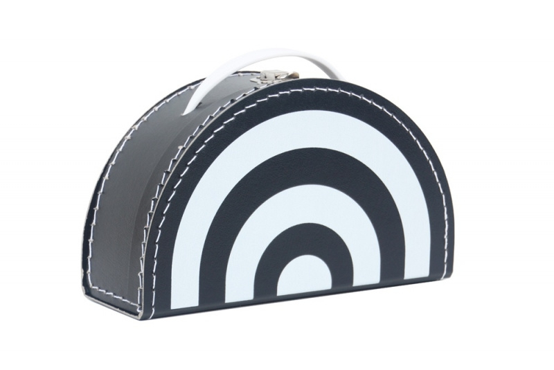 Kids Boetiek kartonnen koffertje Regenboog (zwart/wit)
