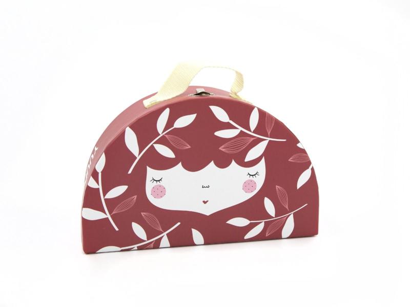 Yuunaa | Kartonnen Kinderkoffertje Flower Face Rood - Groot