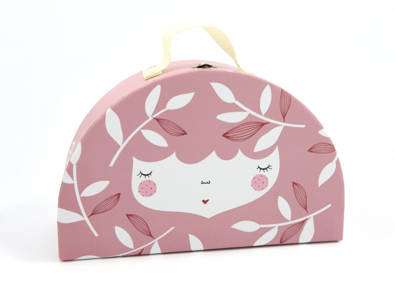 Yuunaa | Kartonnen Kinderkoffertje Flower Face Roze - Groot