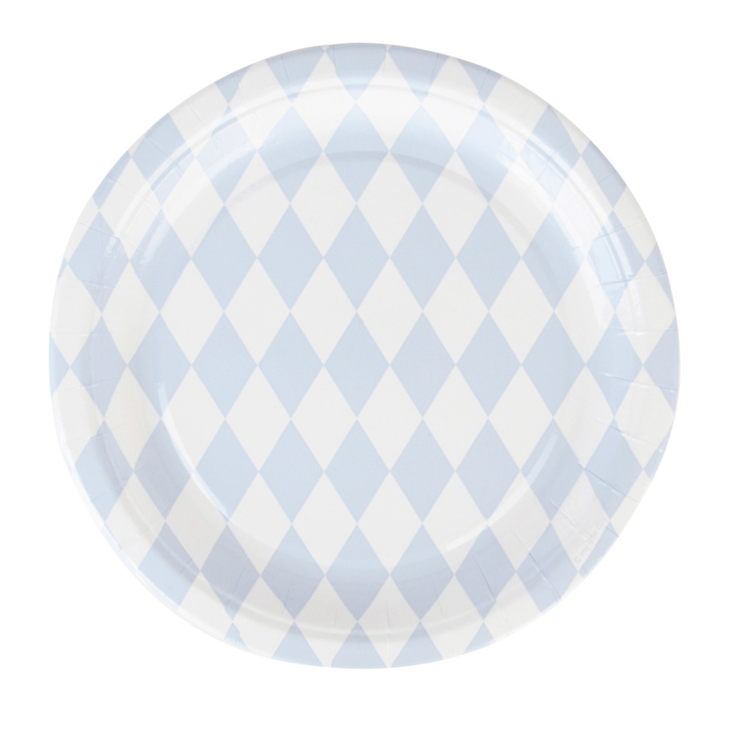 My Little Day papieren bord Diamonds lichtblauw (8 stuks)